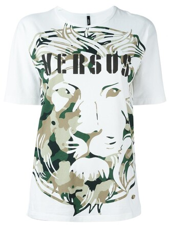 t-shirt shirt lion women white cotton print top