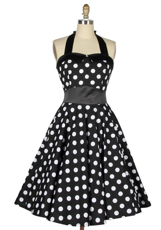 black and white black dress 50s style pin up housewife rockabilly vintage retro halter neck long dress sexy dress cute dress