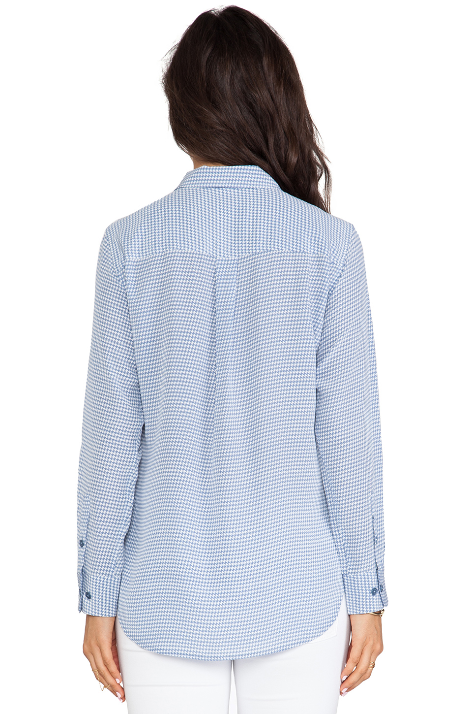 Equipment Slim Signature Archive Absoulte Houndstooth Blouse in Blue Jean & Bright White from REVOLVEclothing.com