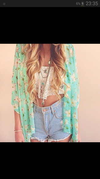 hippie boho coachella High waisted shorts lace crop top komono curly hair boho shirt jacket shirt cardigan floral oversized cardigan