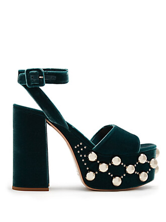 embellished sandals platform sandals velvet green shoes