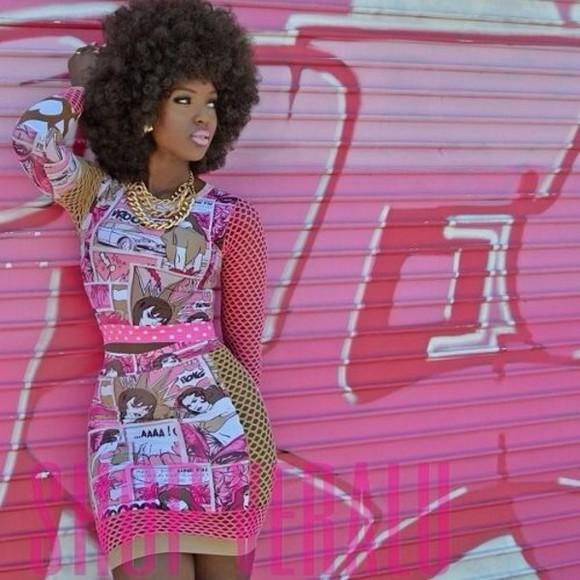 pink fishnet jewels amara la negra afro comic dominican gold chain gold skirt