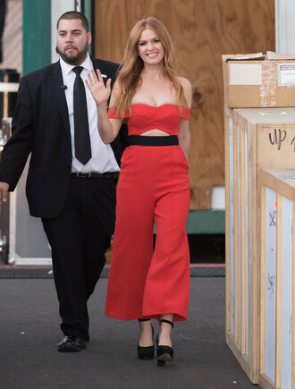 jumpsuit red dress red pants isla fisher top cut-out