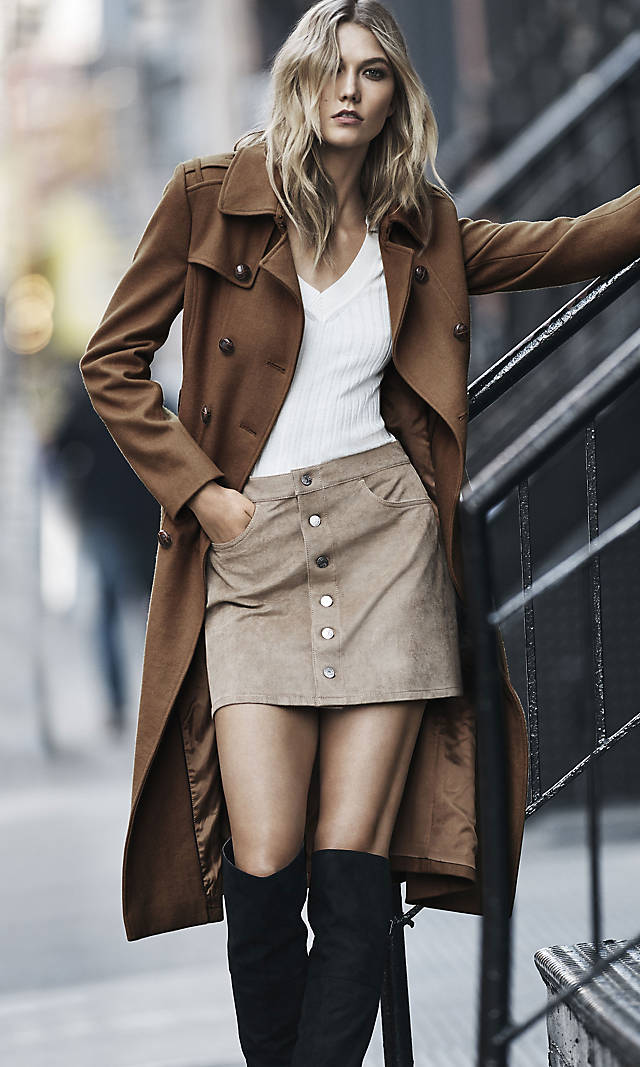 Wool Blend Long Trench Coat from EXPRESS