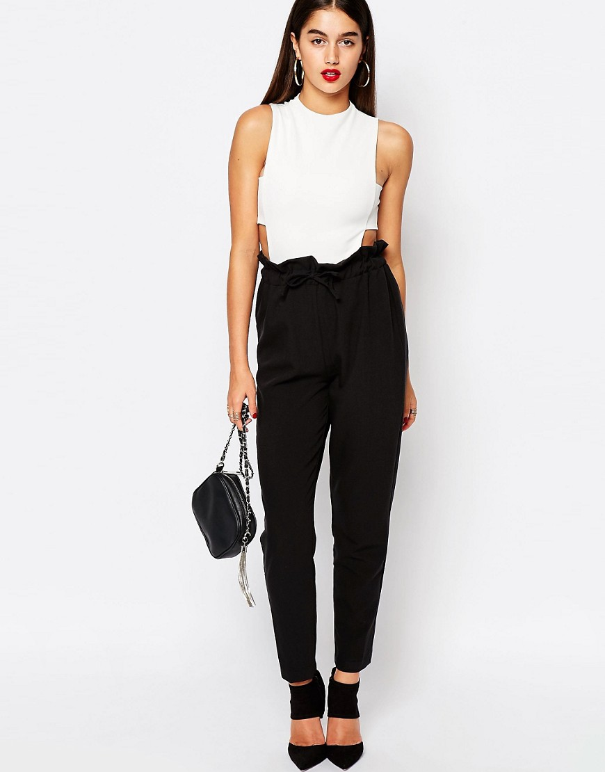 Paper bag trousers - Missguided Paperbag Waist Tapered Trousers At Asos Com