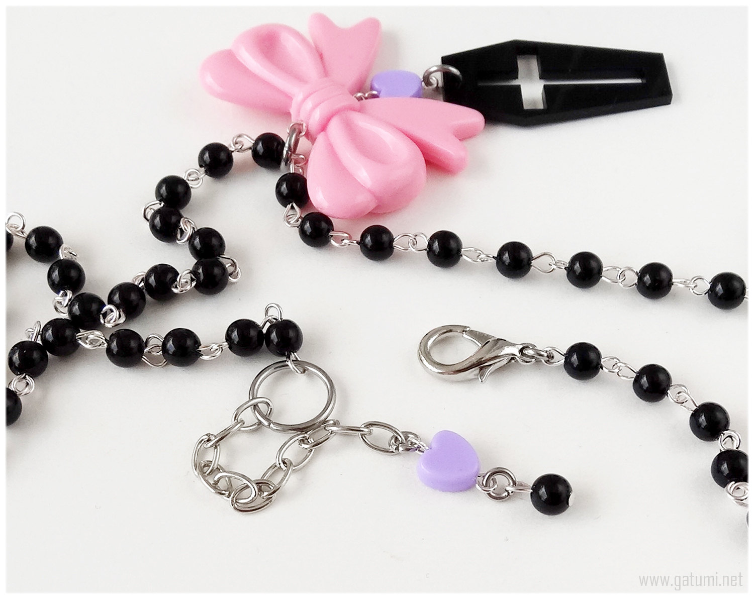 Pastel goth coffin necklace, black purple and pink, beaded rosary chain