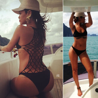 swimwear rihanna bikini mesh one piece swimsuit jewels
