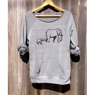 sweater grey fashion long sleeves trendy cool elephant trendsgal.com