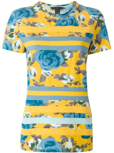Marc by Marc Jacobs t-shirt shirt striped t-shirt t-shirt rose yellow orange top
