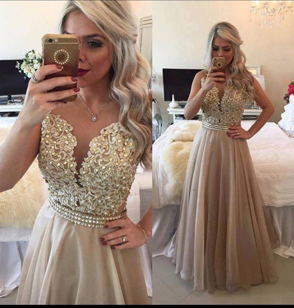 Dress taupe gold wheretoget for Taupe lace wedding dress
