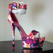shoes,heels,high heels,high heel sandals,platform high heels,open toe high heels,stilettos,floral high heels,floral,ankle strap heels