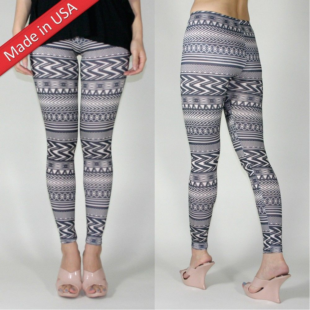 Aztec Ethnic Black Tribal Zigzag Print Beige Stretchy Leggings Tights Pants