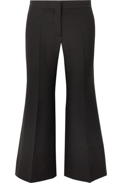 pants wide-leg pants black silk wool