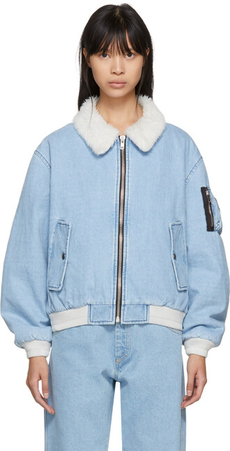 jacket denim jacket shearling denim jacket denim blue