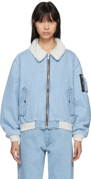 Gosha Rubchinskiy jacket denim jacket shearling denim jacket denim blue