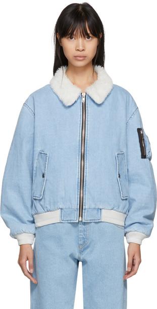 jacket denim jacket shearling denim jacket denim blue