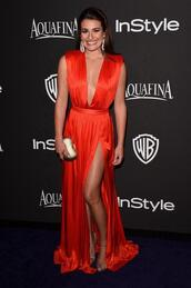 golden globes 2015 after party,lea michele,sandals,red dress