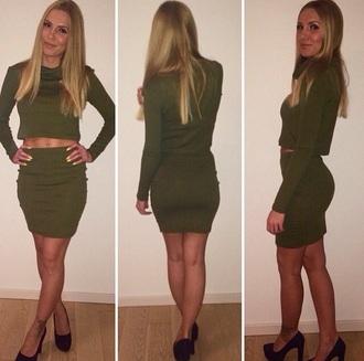 dress olive green dress green crop tops two-piece kim kardashian