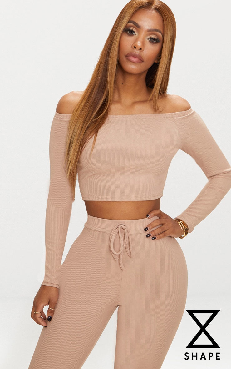Shape - Crop top bardot nude manches longues