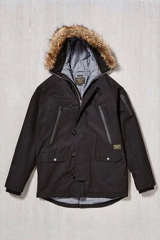 coat black urban outfitters parka fur