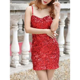 Enchanting sequined spaghetti strap dress for women