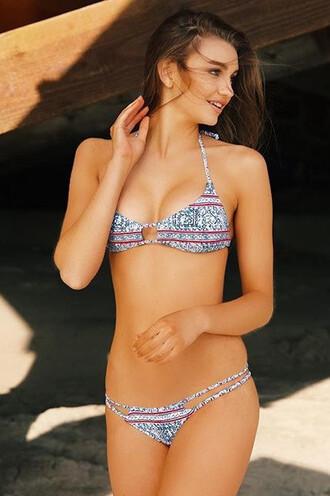 swimwear frankies bikini triangle bikini delivery bikini top blue frankies halter top print purple bikiniluxe