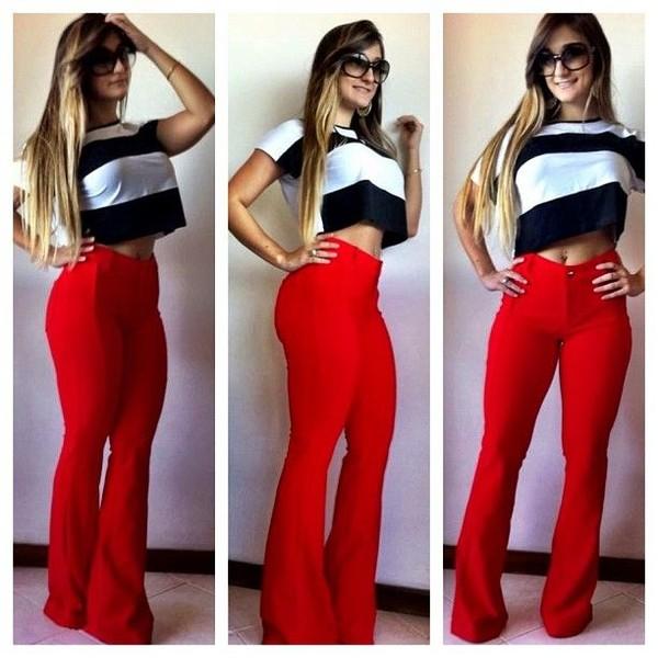 Pants: red pants, high waisted pants, flare, shirt - Wheretoget