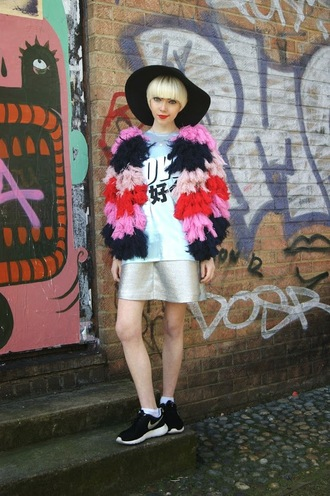 stella's wardrobe blogger jacket t-shirt colorful metallic silver floppy hat fluffy graphic tee skirt metallic skirt
