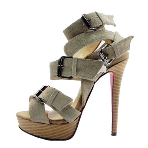 Christian Louboutin Toutenkaboucle 150 Suede Buckle Sandals Gray Red Bottom Shoes - $795.00