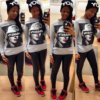 sweater air jordan leggings beanie marilyn monroe pants