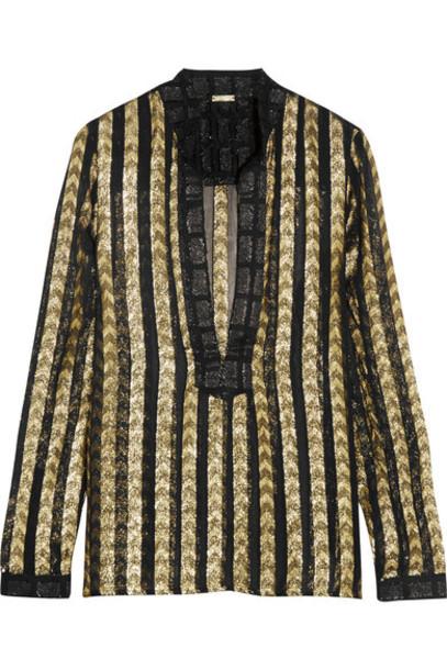 Dodo Bar Or - Metallic Fil Coupé Organza Shirt - Gold