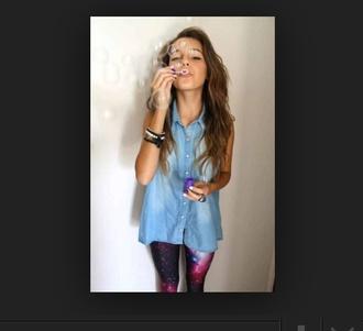 shirt galaxy leggings fakaxy kegibgs denim vedt denim vest vintage boho hipster boho hipster alternative