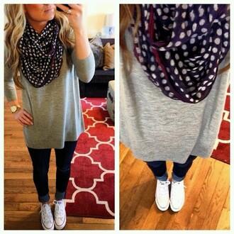 scarf blouse shirt slouchy sweater polka polka dots