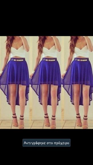 white top blue dress