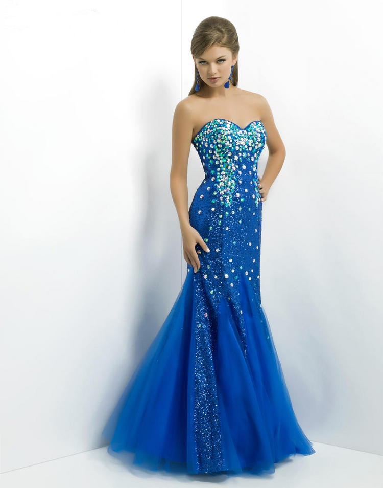 Sweetheart Floor Length Blue Tulle Trumpet Mermaid Prom Dress Obp0102
