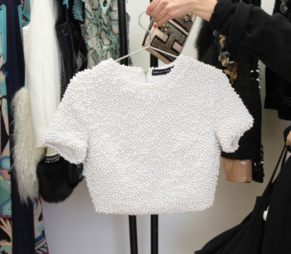 texture pearl embellished embroidered white top white crop tops crop tops blouse white blouse beautiful wanted amazing gorgeous wheretofind heeeeelllppp