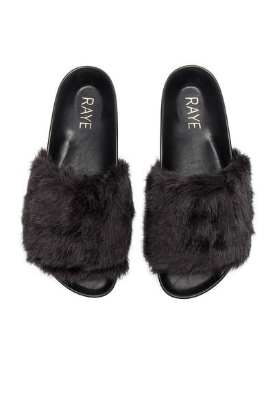 RAYE fur faux fur black shoes