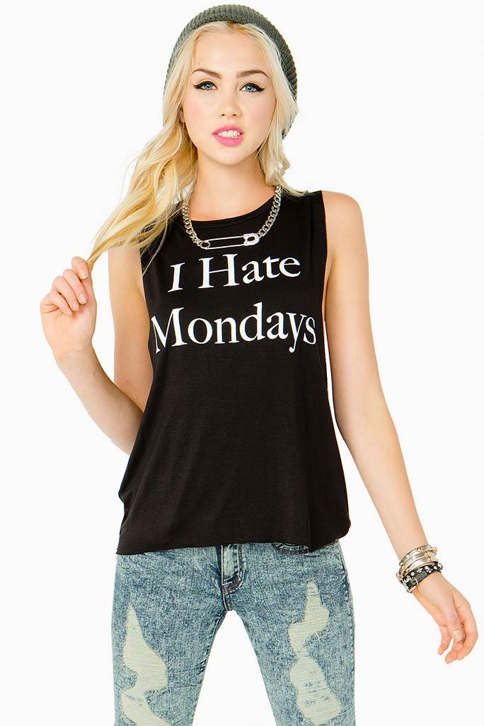 A'GACI I Hate Mondays Muscle Tee - TOPS