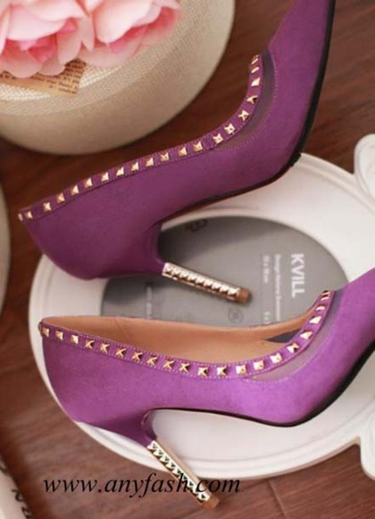 rivet shoes shoe heel high heels wedge purple purple heel mesh