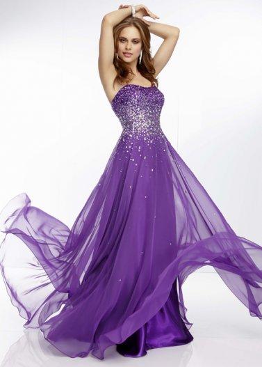 2014 purple strapless sequin top long prom dress [mori lee 95007]