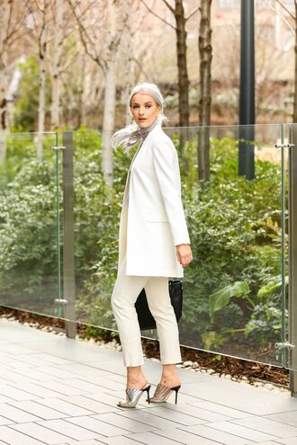 pants tumblr white pants capri pants mules high heels heels silver shoes blazer white blazer power suit matching set spring outfits office outfits work outfits all white everything spring work outfit