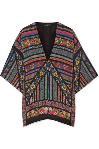 kimono black silk top