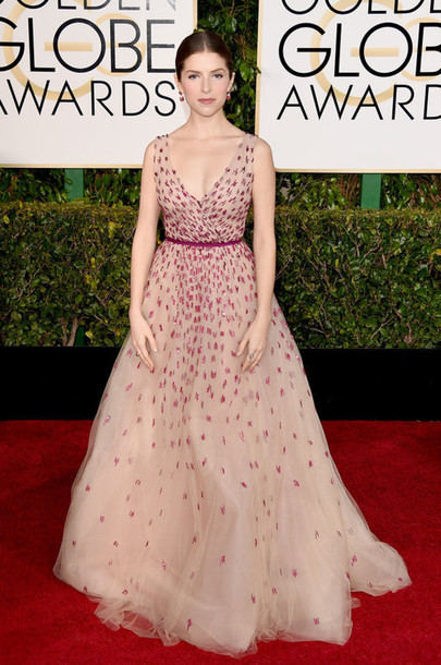 dress anna kendrick Golden Globes 2015 red carpet dress tulle dress