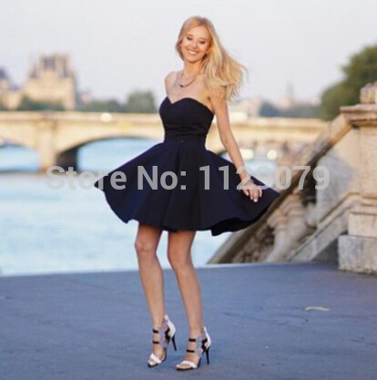 2014 New summer black heart neckline beach dress date outfits romantic sweet girly elegant flowy skater dress OM126-in Dresses from Apparel & Accessories on Aliexpress.com | Alibaba Group