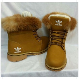 shoes brown adidas winter boots adidas shoes boots fluffy fur tan