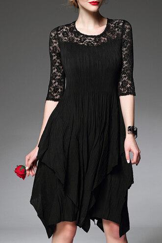 dress dezzal pleated black black dress lace dress fashion style trendy