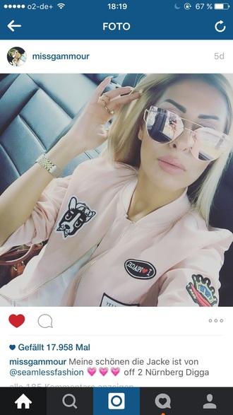 sunglasses mirrored sunglasses mirror moon and sun rose pink gold wonder woman pink bomber jacket pink jacket