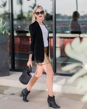 skirt,glitter,glitter skirt,disco skirt,mini skirt,gold skirt,boots,ankle boots,blazer,black blazer,bag,sunglasses