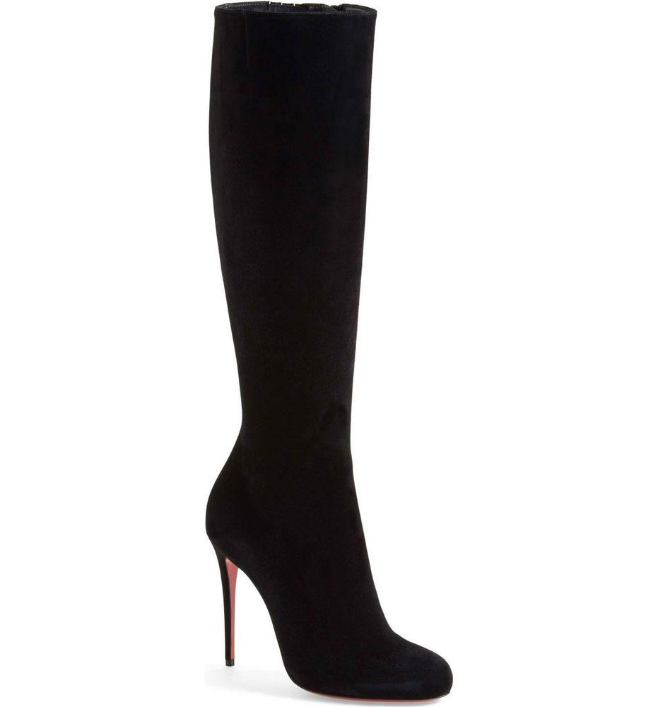 NIB Christian Louboutin Fifi 100 Tall Boot Suede Leather Black Heel Boots 39.5