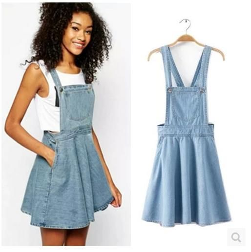 Denim Suspender Overall Mini Skirt Size S-L